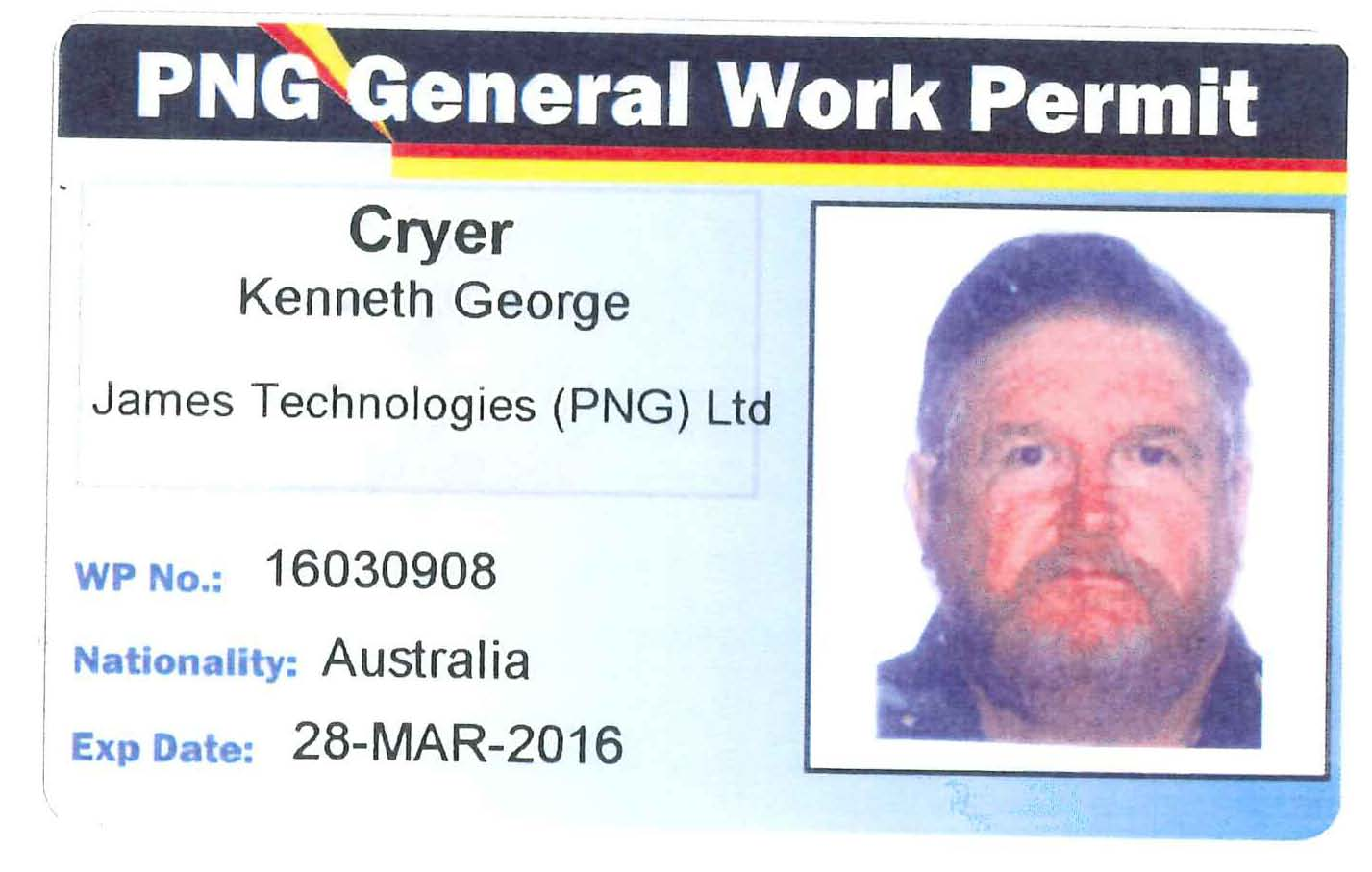 Ken Cryer PNG Work Permit