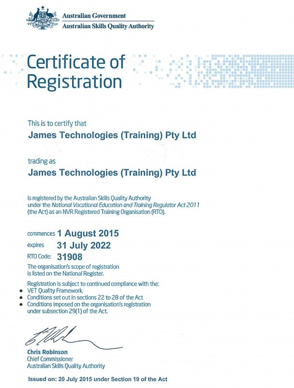 James Technologies (Training) Registration cert 2015-2022